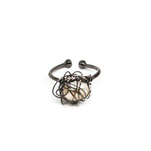 anel emranhado ródio negro