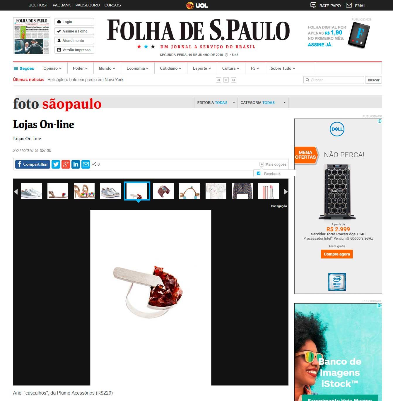 Anel e Bracelete Plume são destaque de galeria de foto online da Folha de S. Paulo