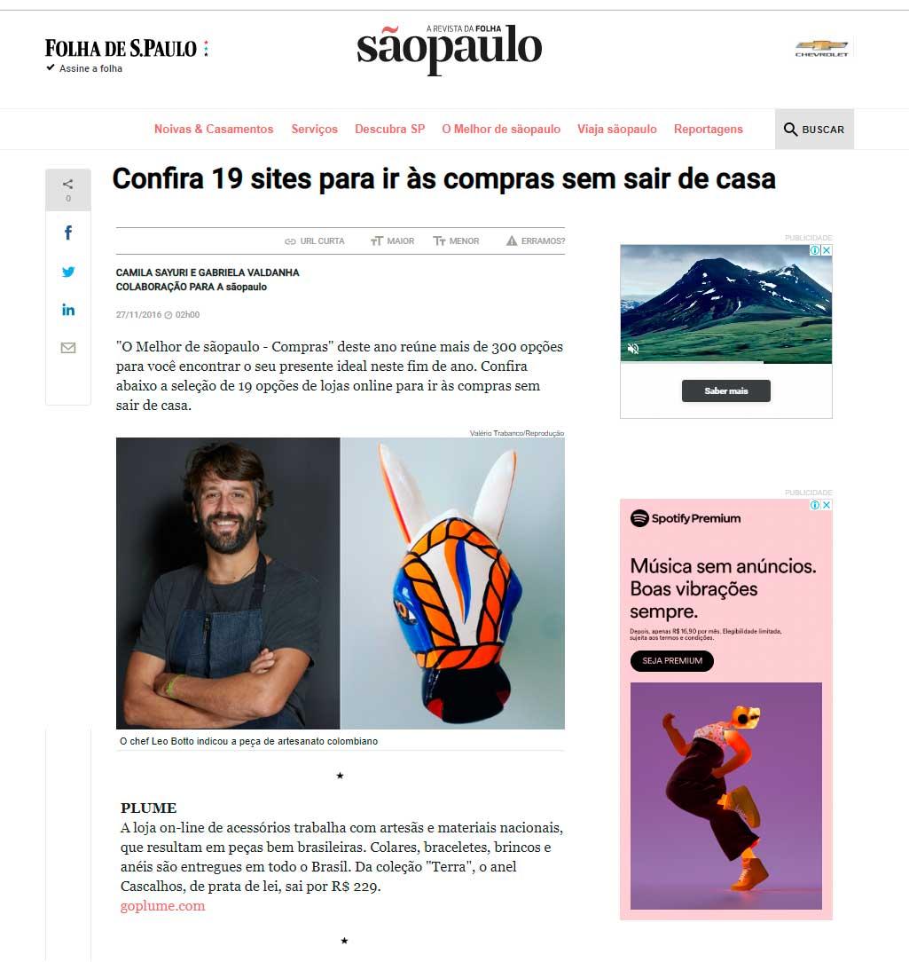 Plume foi destaque da Revista da Folha do jornal  Folha de São Paulo