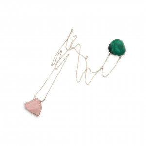 escapulário quartzo rosa e malaquita